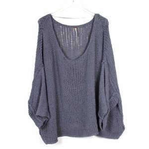 Free People Large Oversized Slouchy Blue Sweater